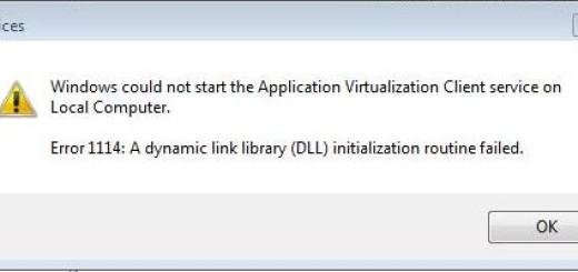 Windows error 1114 - e1a